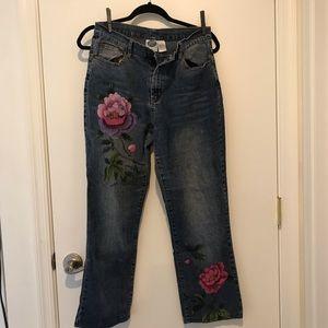 Women's petite jeans- paint embellished